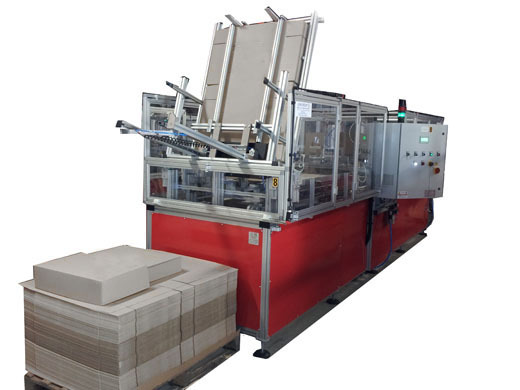 Pre-folded box forming machine with glue closure